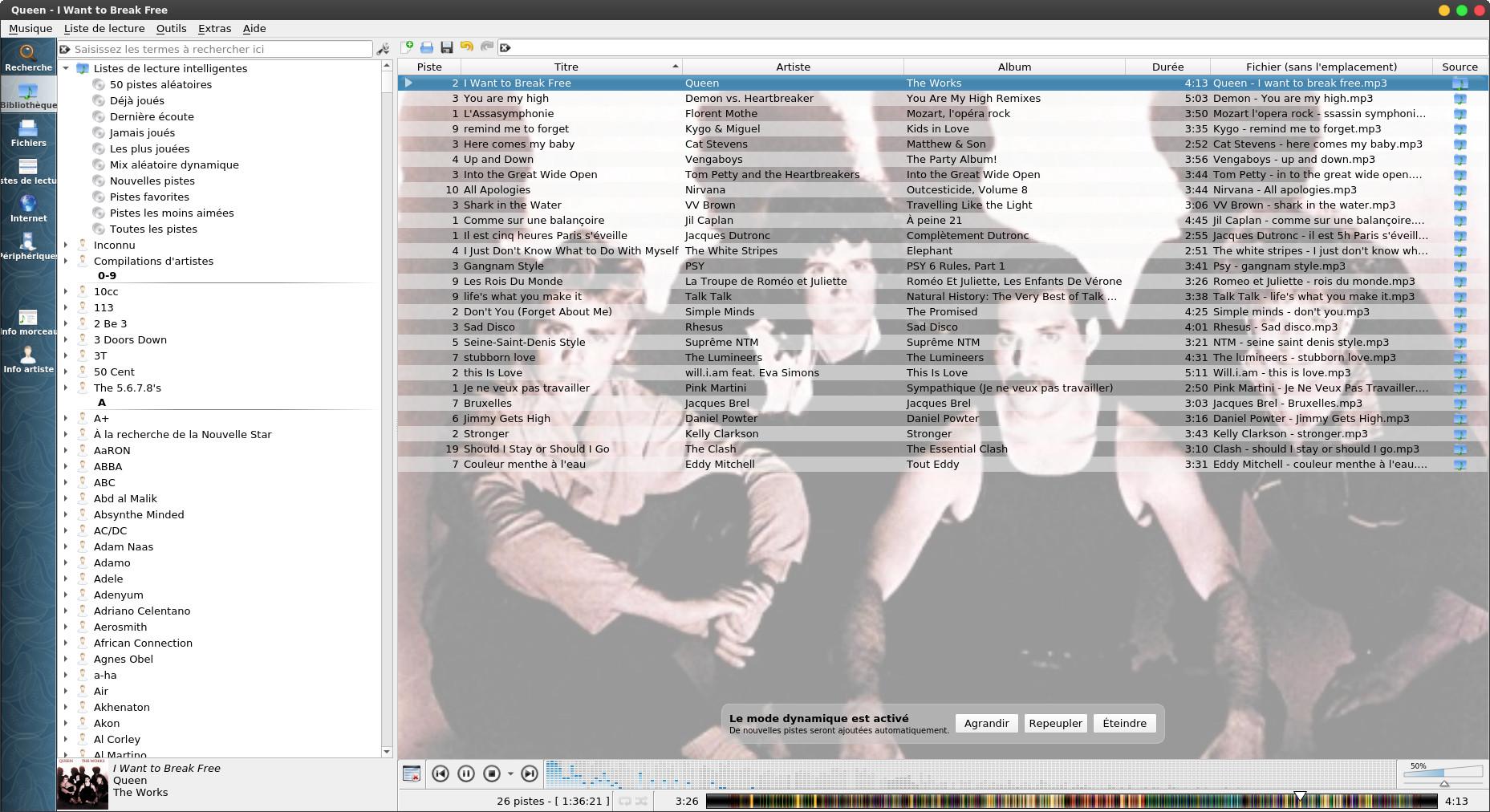 Capture d'écran de Clementine en Qt5